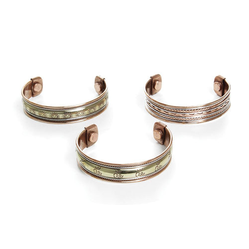 Set Of 3 Magnetic Copper Bracelets