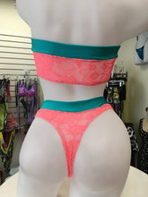 JILLYROCKS 2 PC ARIKA Coral lace Highwaist thong tube top
