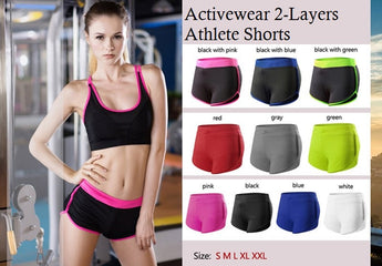 Activewear 2 Layers Athlete Shorts - Exercise Suit-Up! Clothing wear