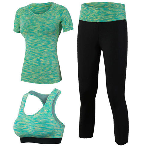 Activewear 3 Piece Kit (Green/ Purple/ Red/ Grey/ Blue) - Exercise Suit-Up! Clothing wear
