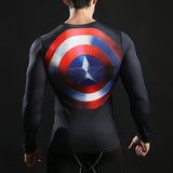 Captain America Classic Activewear Compression Long Sleeves - Exercise Suit-Up! Clothing wear