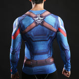 Captain America Activewear Compression Long Sleeves - Exercise Suit-Up! Clothing wear
