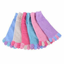 Ladies Five-Toe socks (Rose Red/ Turqoise/ Blue/ Grey/ Pink/ Purple) - Exercise Suit-Up! Clothing wear