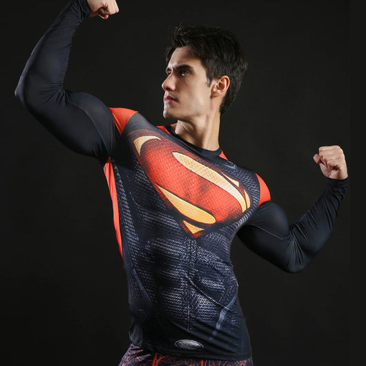 Superman Alternate Activewear Compression Long Sleeves - Exercise Suit-Up! Clothing wear