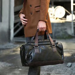 PU Leather Duffel Bag (Coffee Black/ Brown/ Shadow Blue)