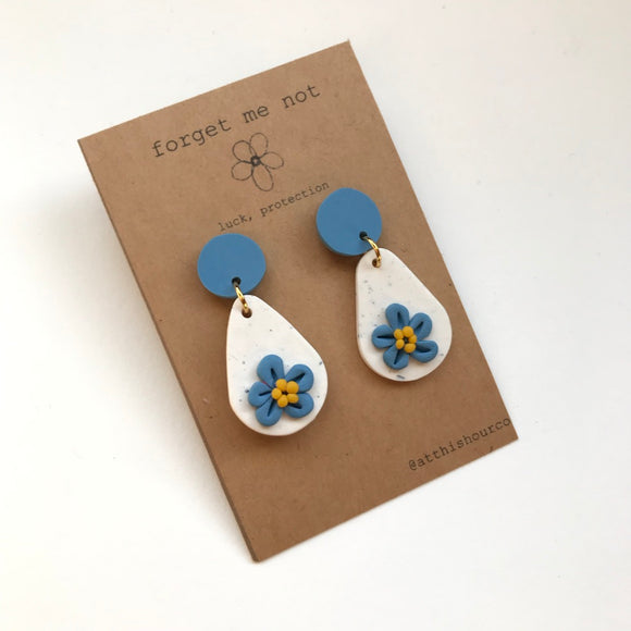 Forget Me Not Teardrop Earrings