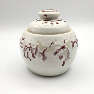 Lidded Jar with Red Accents