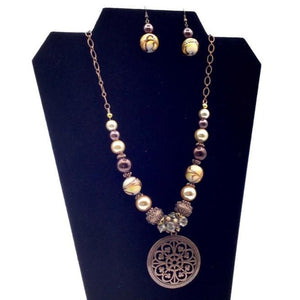 Beaded Necklace with Pendant and Earrings