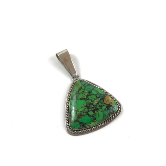 Triangular pendant green #25