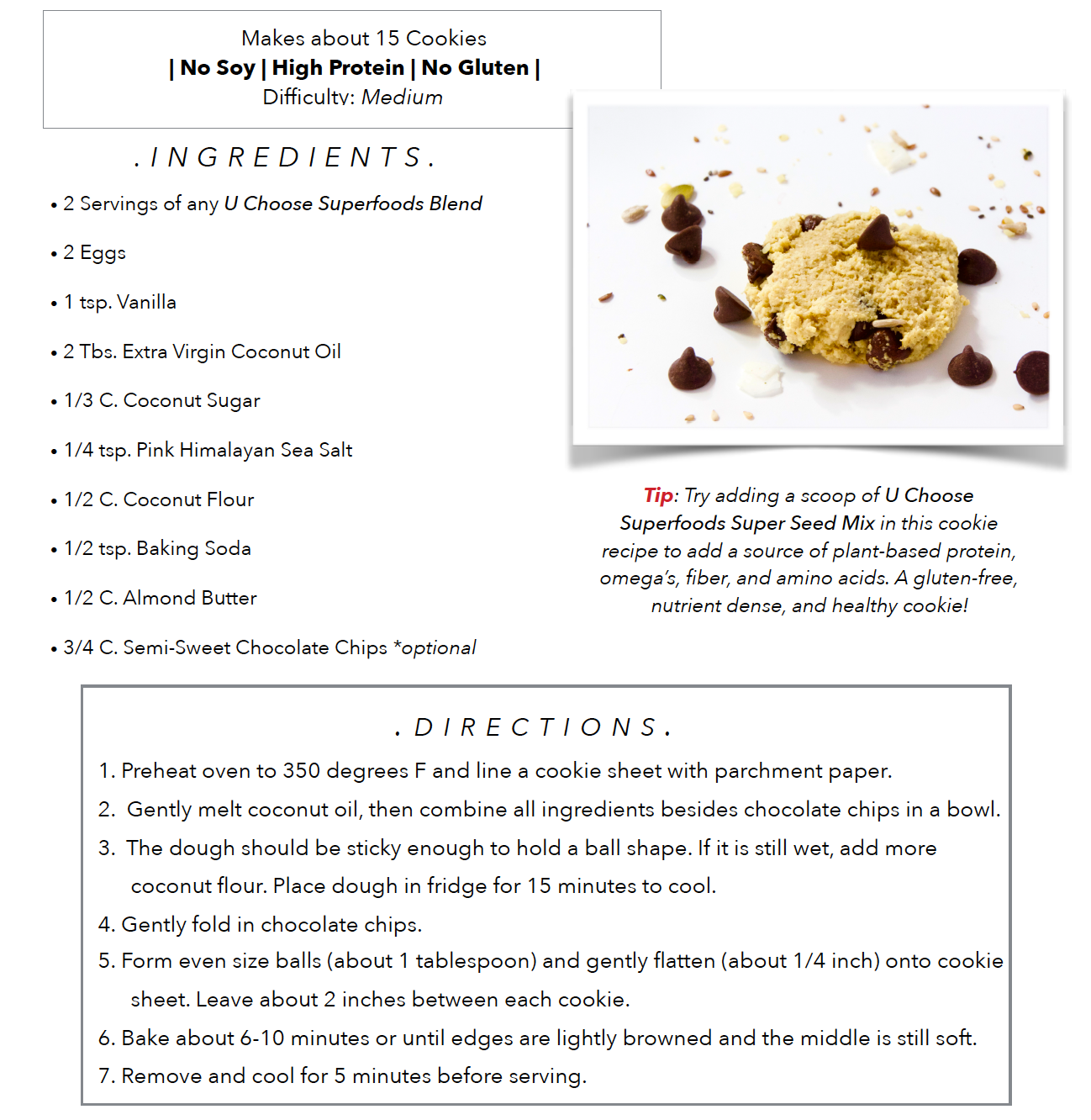 Healthy Superfood Gluten-Free and Dairy-Free Cookies