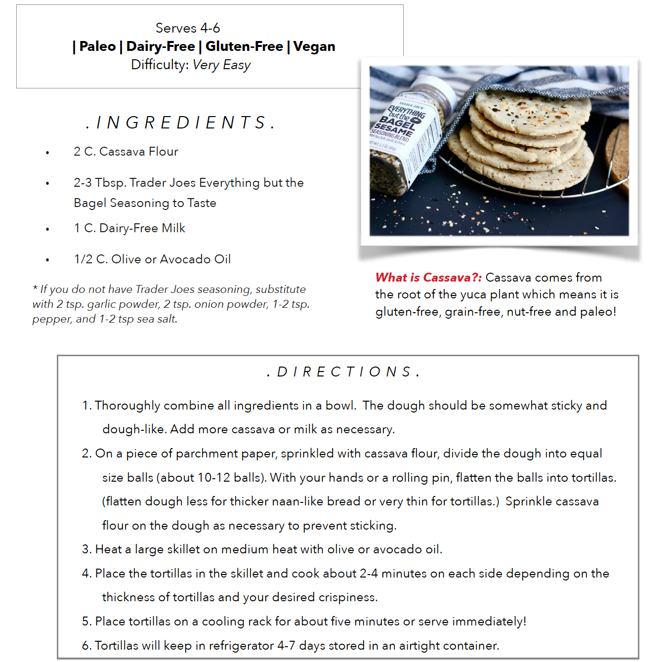 4-Ingedient Paleo Tortillas, easy, healthy recipes! Dairy and Gluten Free