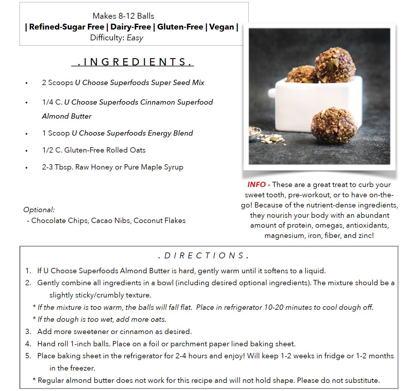 No-Bake Cinnamon Superfood Almond Butter Energy Balls - Keto, Paleo, Gluten-free, sugar-free, plant based, dairy-free, soy-free, healthy and easy recipe