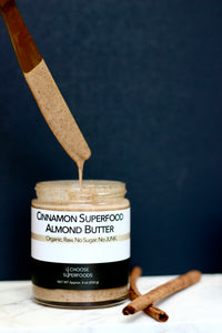 Cinnamon Superfood Almond Butter, Organic, Raw, Vegan, Superfoods, Ashwagandha, Glass Jar, Hand-Made, 9oz, Healthy Food, Almond Butter, Gluten-Free,