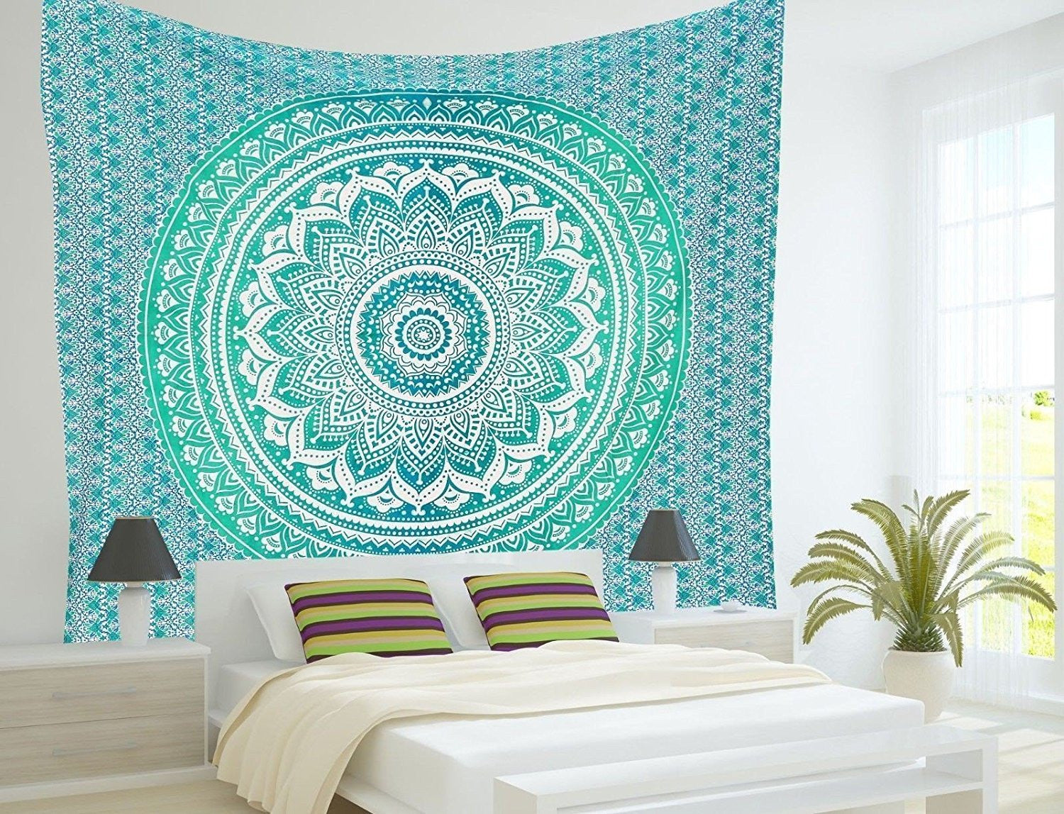 Mandala Tapestry Green Ombre Wall Hanging