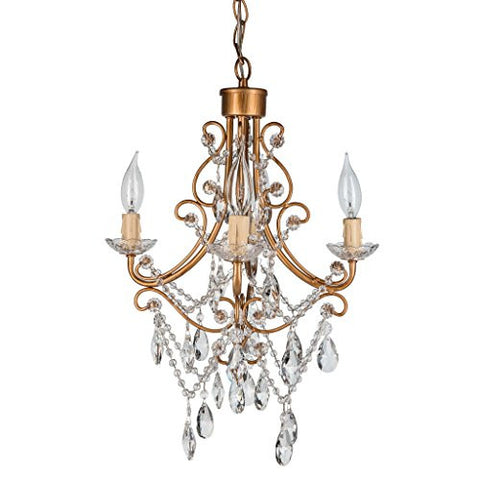 "'Madeleine Collection' Authentic Crystal Swag Chandelier Lighting with 4 Lights, Mini Style W14.25"" X H14.5"" (Gold)"