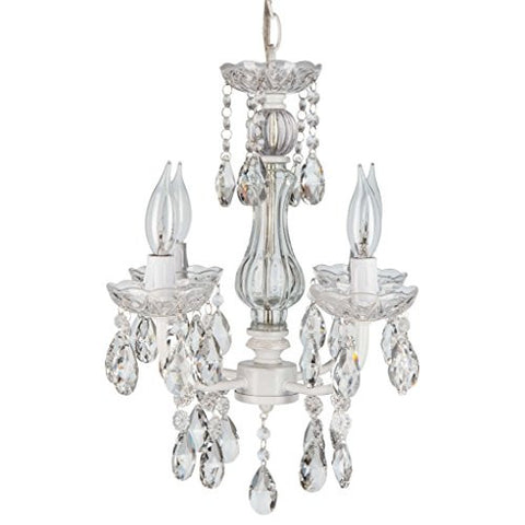 "'Madeleine Collection' Mini Crystal Chandelier Lighting with 4 Lights, Authentic Glass, Vintage style, W13.5"" X H15"""