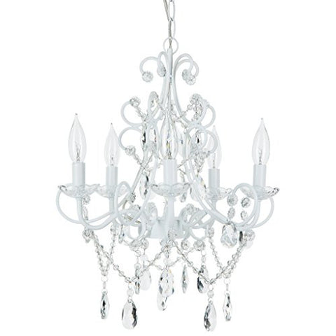 'Madeleine Collection' Crystal Swag Chandelier, 5 lights, Authentic Glass Pendant Lighting, Vintage Antique (White)