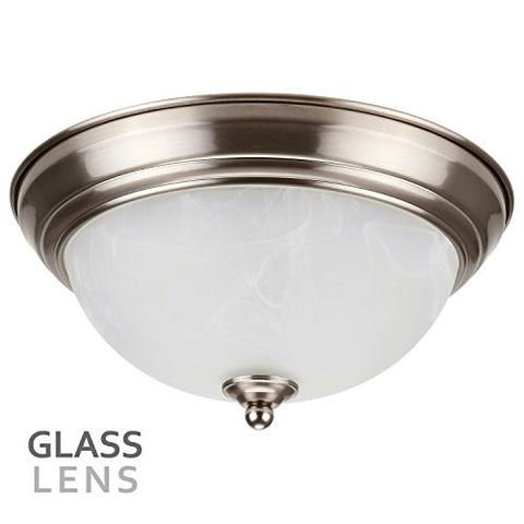 #Dimmable# 11-Inch LED Flush Mount Ceiling Light Fixture, 15W (80W Equivalent), 3000K Warm White, Alabaster Glass Shade, 1050 Lumens, ETL Listed, 5 YEARS WARRANTY, Satin Nickel