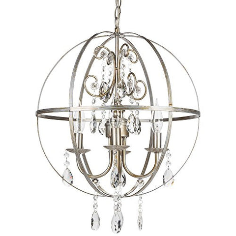 'Luna Collection' Orb Crystal Swag Chandelier with 4 Lights, Sphere Glass Pendant Ceiling Lighting Fixture (Silver)