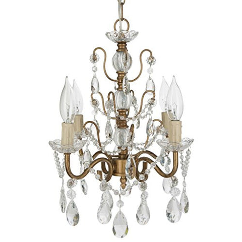 "'Madeleine Collection' Authentic Crystal Swag Chandelier Lighting with 4 Lights, Mini Style W13.5"" X H14"" (Gold)"