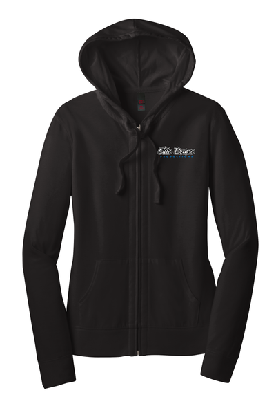 DT2100 District ® Women's Fitted Jersey Full-Zip Hoodie with embroidered logo (Black)