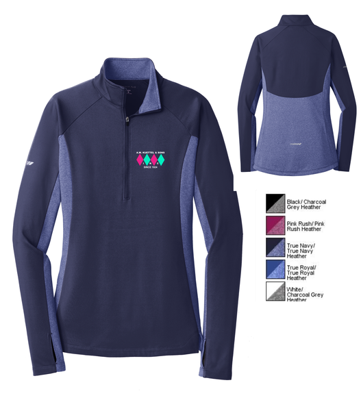 LST854 Sport-Tek® Ladies Sport-Wick® Stretch Contrast 1/2-Zip Pullover with embroidered logo