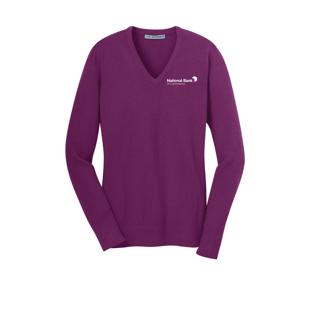 LSW285 Port Authority® Ladies V-Neck Sweater with embroidered logo