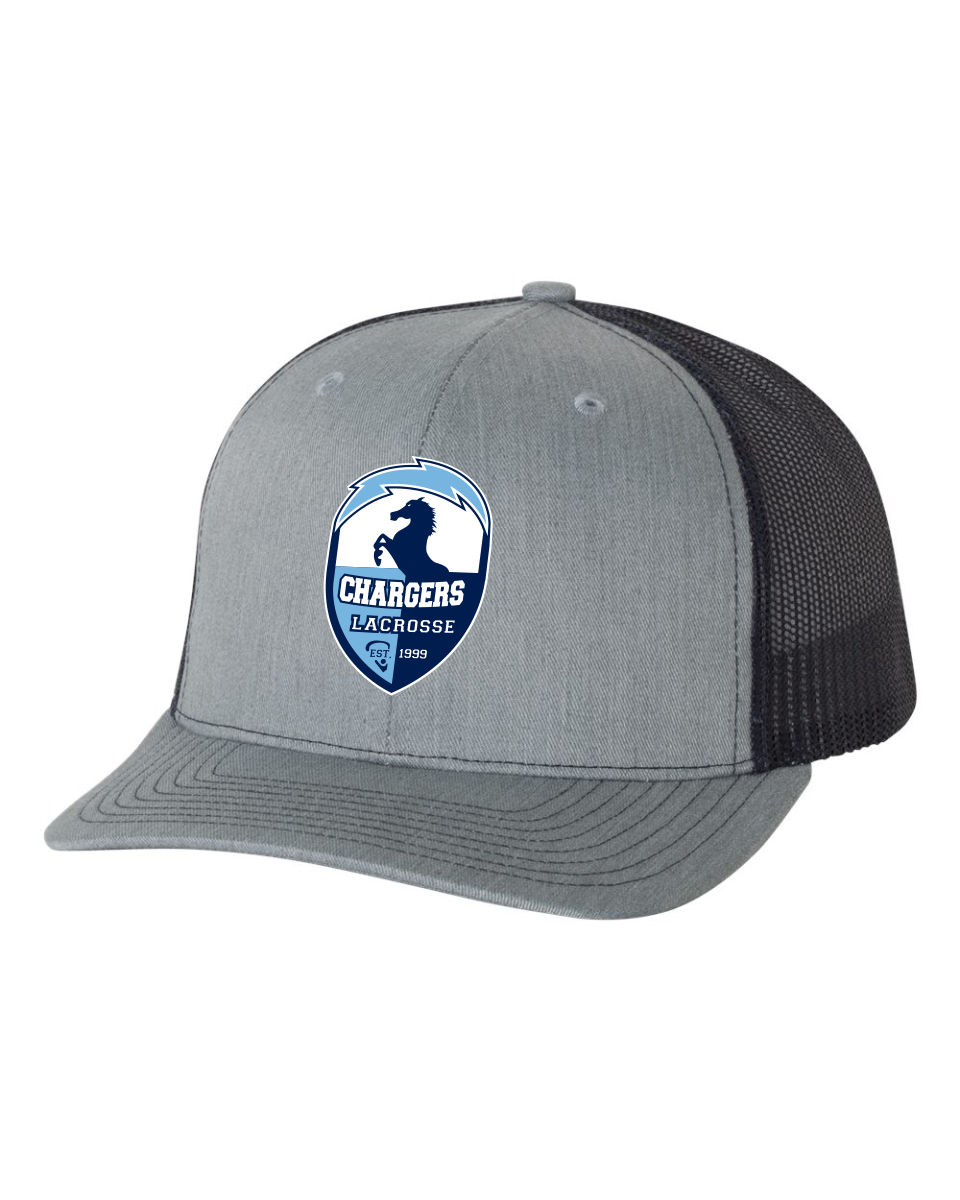 Richardson - Grey and Navy Snapback Trucker Cap - 112 with woven patch label