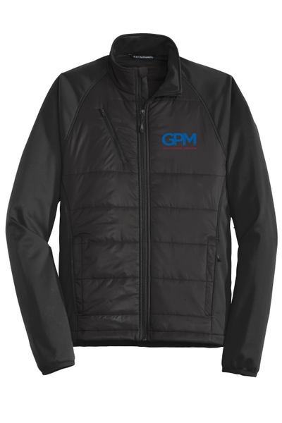 GPM J787 Port Authority® Hybrid Soft Shell Jacket with full color embroidered logo