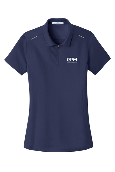 GPM Inc. L580 Port Authority® Ladies Pinpoint Mesh Zip Polo with White embroidered GPM logo