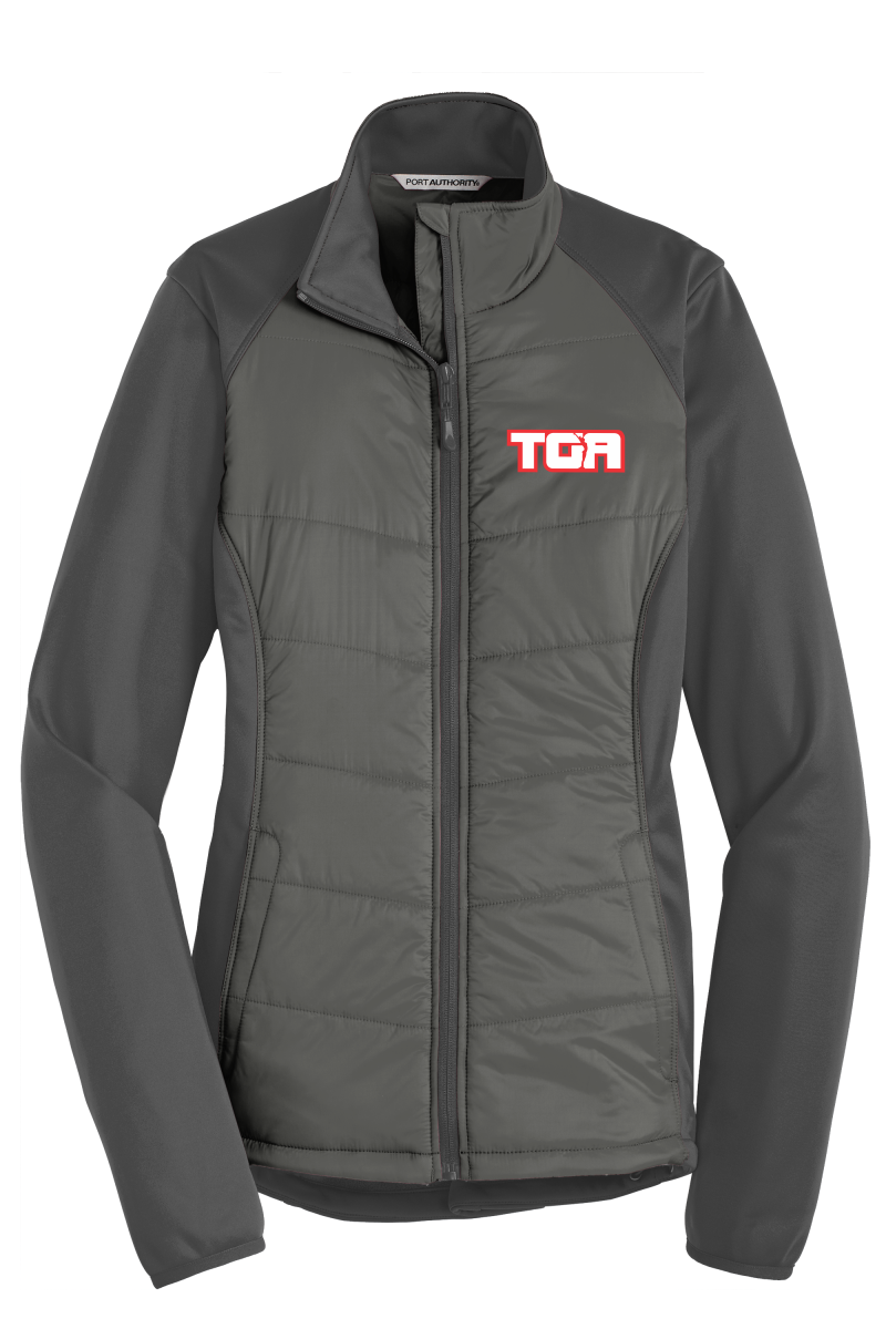 L787 Port Authority® Ladies Hybrid Soft Shell Jacket with embroidered logo