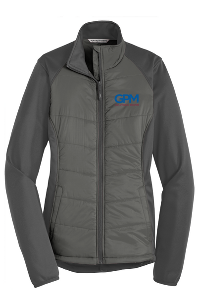 GPM L787 LADIES Port Authority® Hybrid Soft Shell Jacket with full color embroidered logo