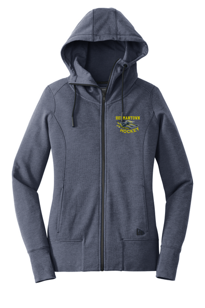Hermantown New Era® LNEA511 Tri-Blend Fleece Full-Zip Hoodie with embroidered logo