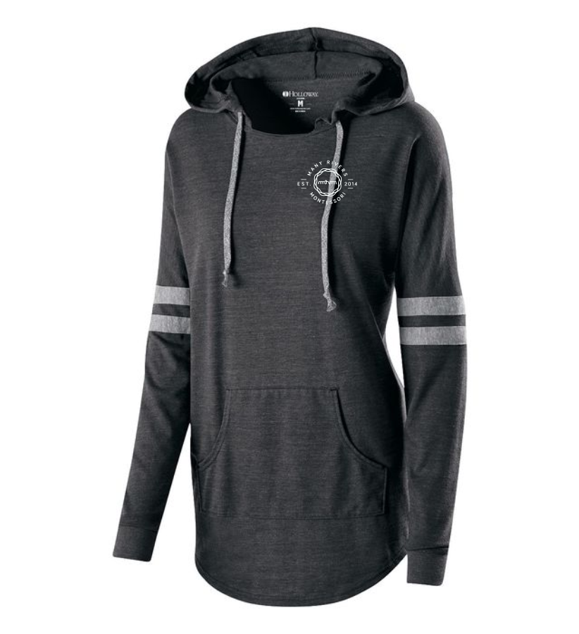 LADIES 229390 HOODED LOW KEY PULLOVER with heat transfer logo on left lapel