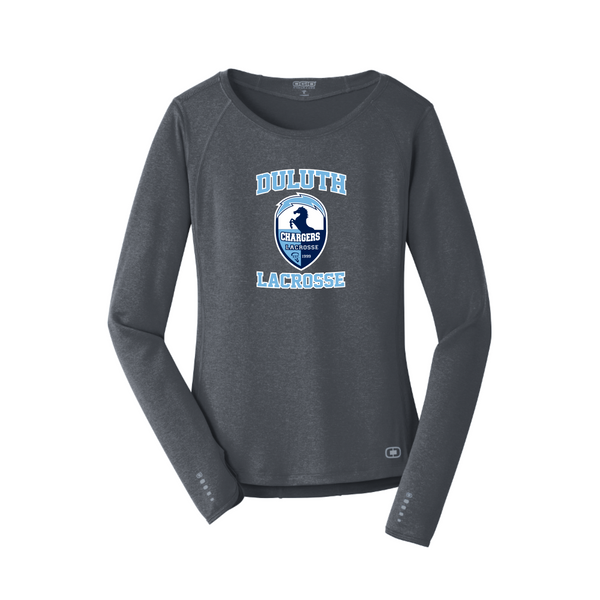 LOE321 OGIO® ENDURANCE Ladies Long Sleeve Pulse Crew with heat transfer logo