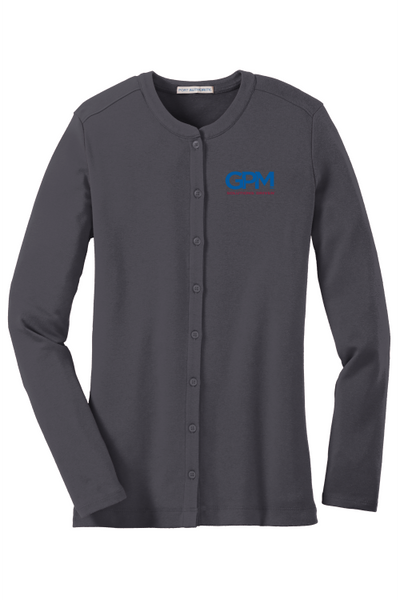 GPM LM1008 Port Authority® Ladies Concept Stretch Button-Front Cardigan with full color embroidered logo