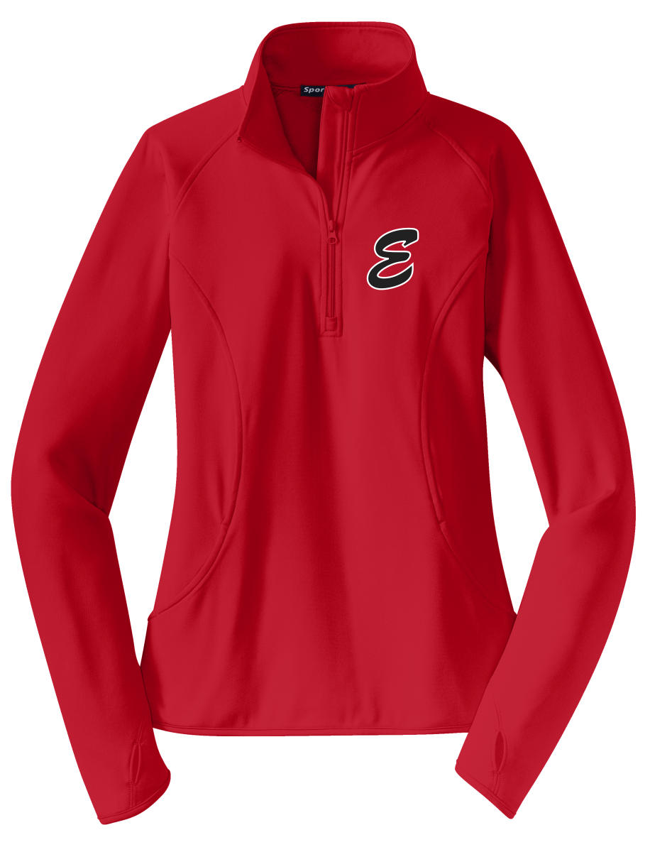 LADIES LST850  Sport-Tek® Ladies Sport-Wick® Stretch 1/2-Zip Pullover with embroidered E logo