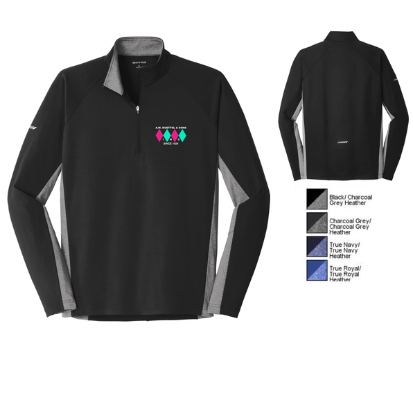 ST854 Sport-Tek® Sport-Wick® Stretch Contrast 1/2-Zip Pullover with embroidered logo