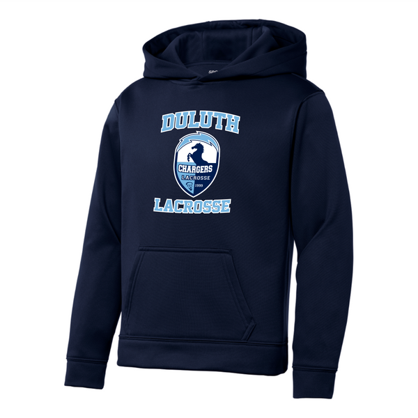 YST244 Sport-Tek® Youth Sport-Wick® Fleece Hooded Pullover with heat transfer logo