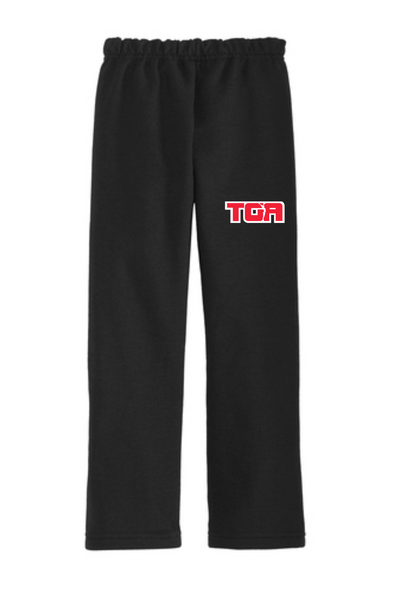 18400B Gildan® Youth Heavy Blend™ Open Bottom Sweatpant with embroidered logo