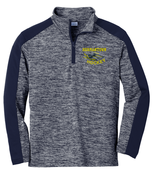 Hermantown YST397 Youth PosiCharge ® Electric Heather Colorblock 1/4-Zip Pullover with embroidered logo