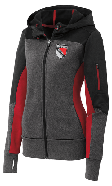 LST245 Ladies Sport-Tek® Tech Fleece Colorblock Full-Zip Hooded Jacket with embroidered logo