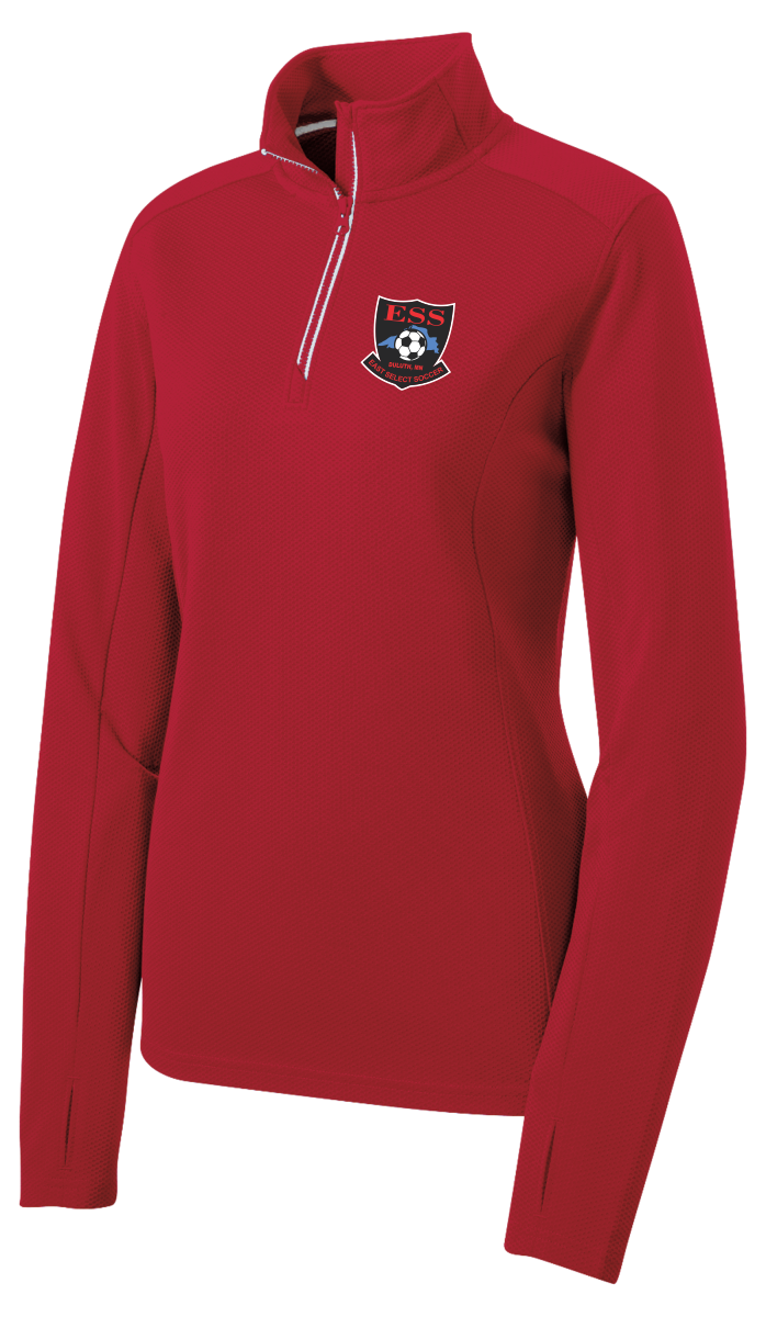 LST860 Sport-Tek® Ladies Sport-Wick® Textured 1/4-Zip Pullover with embroidered logo