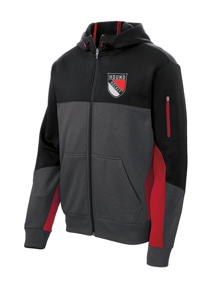 ST245 Sport-Tek® Tech Fleece Colorblock Full-Zip Hooded Jacket with embroidered logo