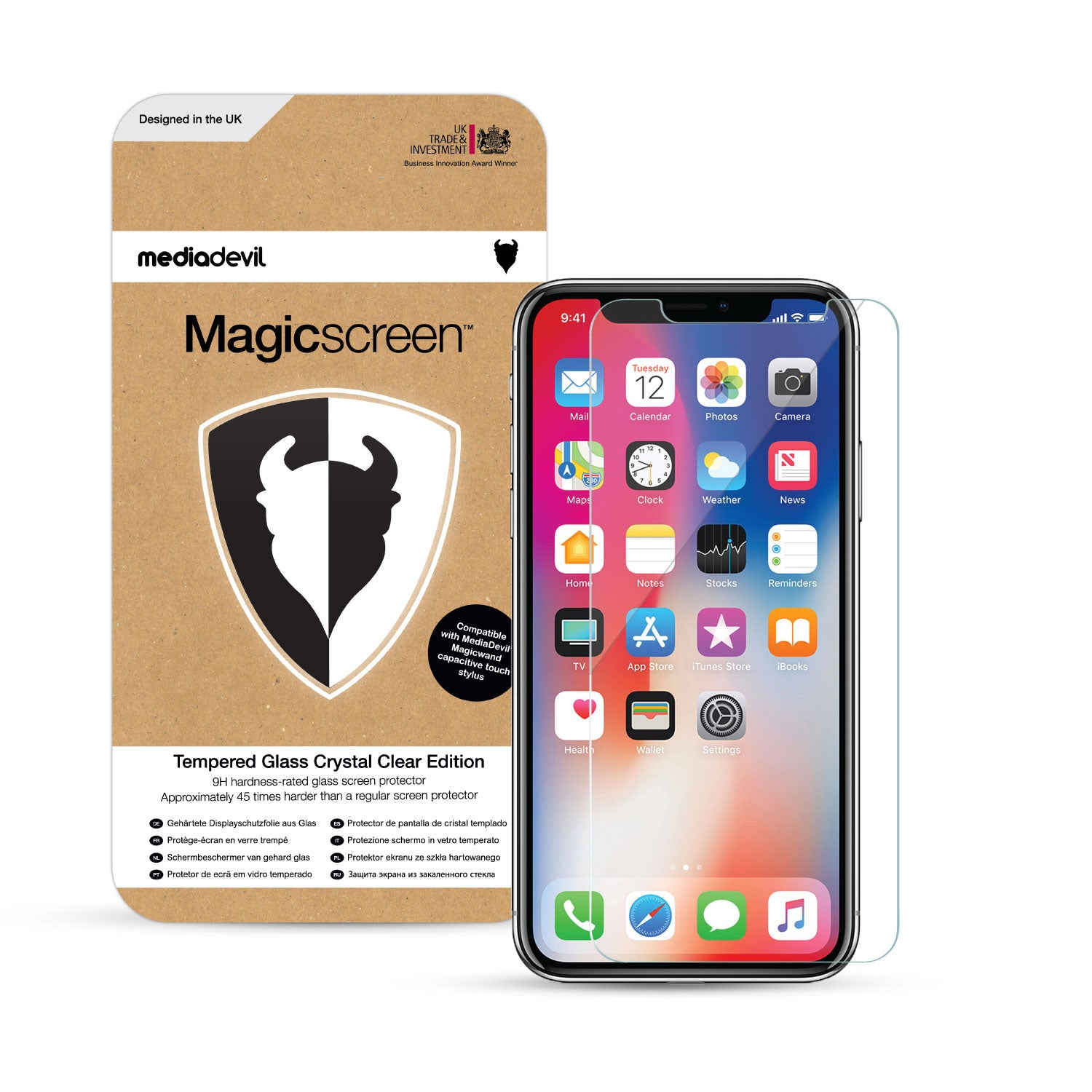 meet 30142 9eb9c Apple iPhone X / XS Tempered Glass Screen Protector (Clear) & Installation  Frame | Magicscreen