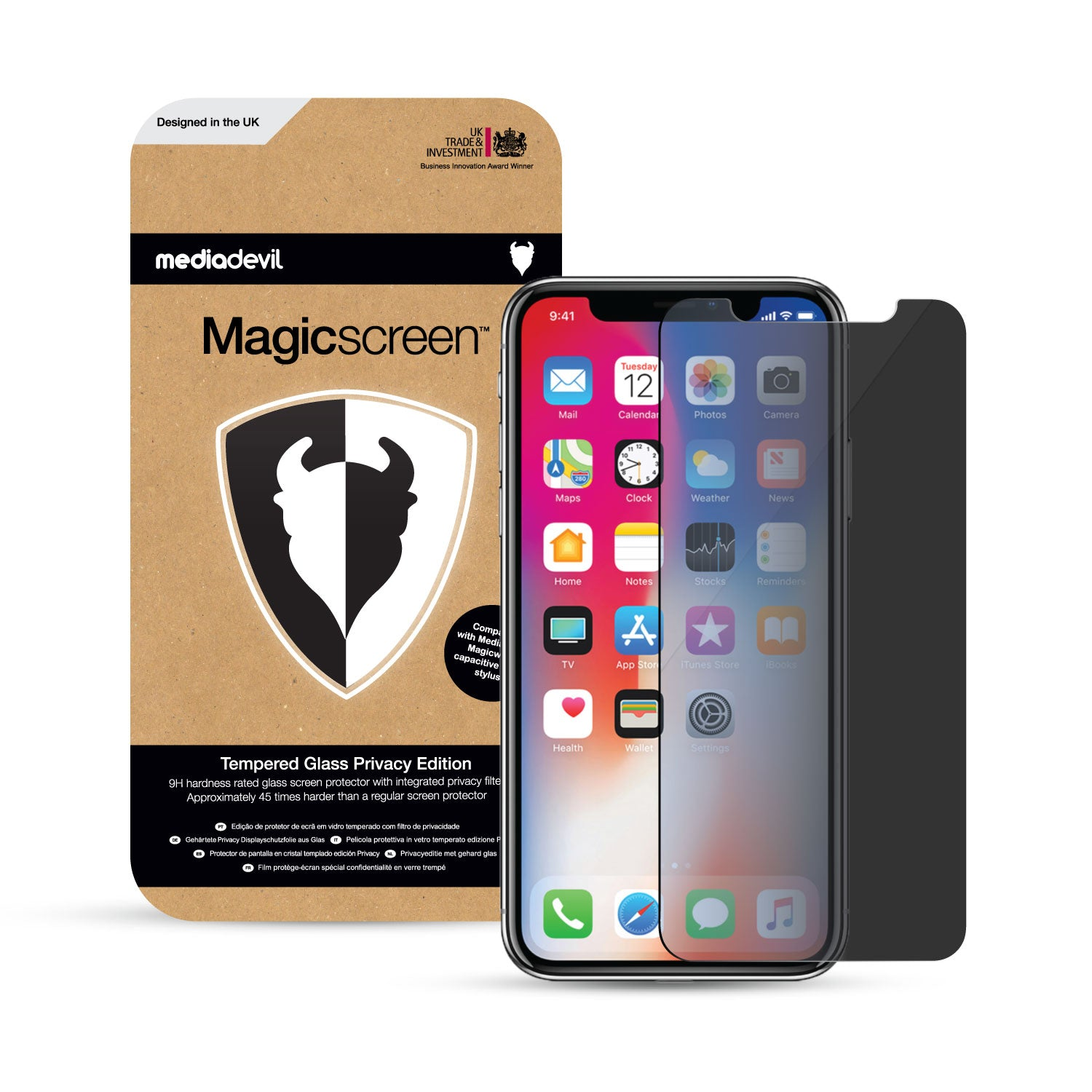 newest c110c a9ba4 Apple iPhone X / XS Tempered Glass Privacy Screen Protector & Installation  Frame | Magicscreen
