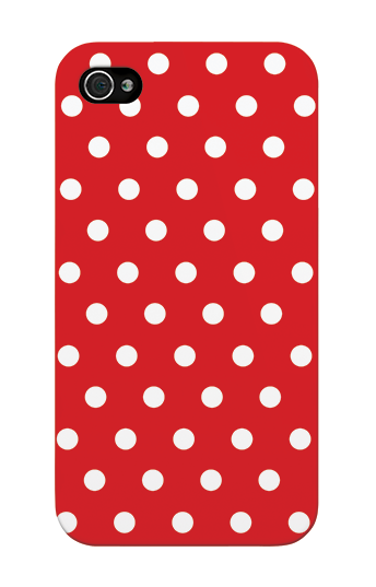 Grafikcase iPhone 4/4S case: White Polka Dots on Red