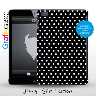 Grafikcase Apple iPad Mini 1/2/3 case: White on Black Polka Dots - Glossy