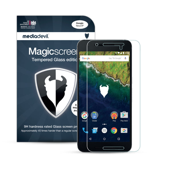 Magicscreen screen protector: Tempered Glass Clear (Invisible) edition - Google Nexus 6P - (1 x Glass Screen Protector)