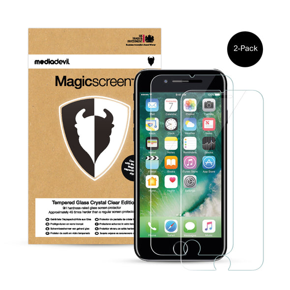 Magicscreen screen protector: Tempered Glass Clear (Invisible) edition - Apple iPhone 7 & iPhone 8 (2-Pack)